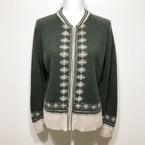 Denim & Co. Forest Green Wool Blend Zip Sweater